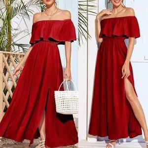 Burgundy polyester shoulder side slit dress